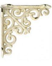 Konsoll gjutjärn antik-vit snirklig hyllbärare gjutjärnskonsoll shabby chic lantlig stil