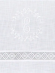 Knytbandslängder Monogram och spets vit shabby chic, lantlig stil