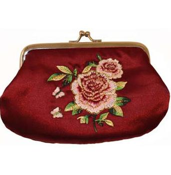 Portmonä med knäppe röd med broderad ros i shabby chic lantlig stil