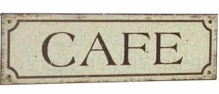 Plåtskylt skylt Cafe ljus shabby chic lantlig stil