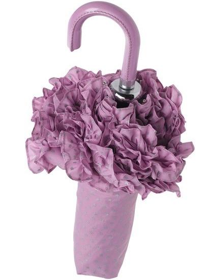 Paraply romantiskt lavendel volang bröllopsparaply