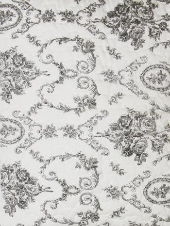 Överkast quilt pläd svart vit rosor shabby chic lantlig stil