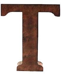 T  stora plåtbokstav rostbrun färg industristil
