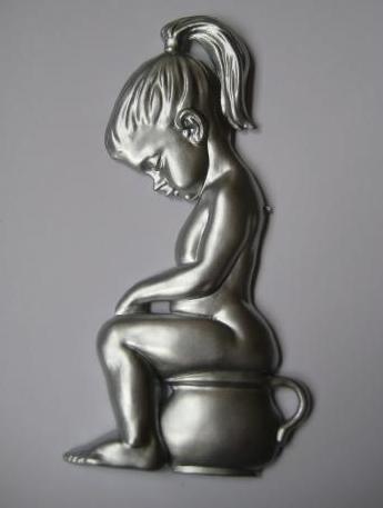 Toalett skylt retro silver skitunge shabby chic lantlig stil