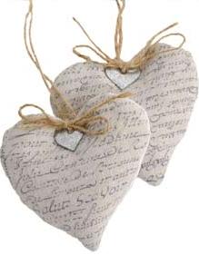 Hjärta tyg med text shabby chic lantlig stil