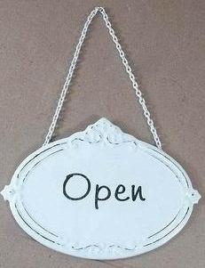 Skylt Open Öppet