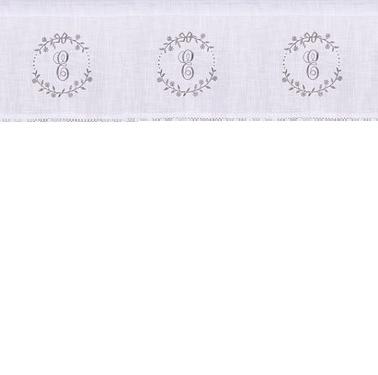 Gardin kappa vit linne-beige broderi monogram shabby chic lantlig stil