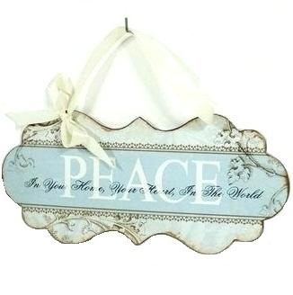Peace plåtskylt shabby chic lantlig stil
