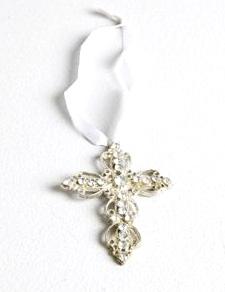 Kors silver färgat hänge