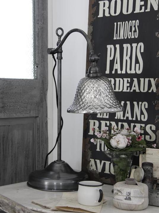 Stor bordslampa i fattigmanssilver shabby chic lantlig stil