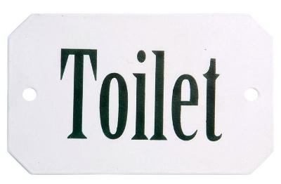 Vit emaljskylt Toilet