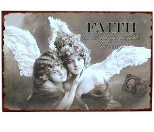 Änglar plåtskylt skylt Faith shabby chic lantlig stil