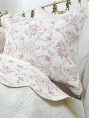 Kuddfodral quilt gammalrosa rosa toilemönster rosor 2 storlekar shabby chic lantlig stil