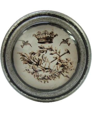 Metall och glasknopp Kungligt emblem shabby chic lantlig stil