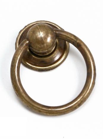 Handtag med ring gammaldags antikguld mässing antik