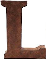 L stor plåtbokstav rostbrun färg industristil