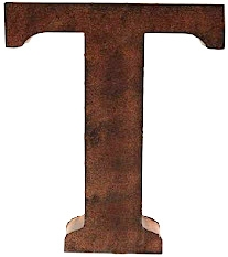 T plåtbokstav bokstav rostbrun färg shabby chic lantlig stil