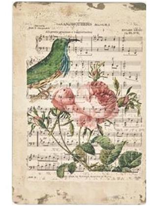 Plåtskylt skylt gammaldags Notblad Rosa rosor fågel romantisk shabby chic lantlig stil