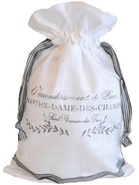 Påse säck vit mjölsäck tryck shabby chic