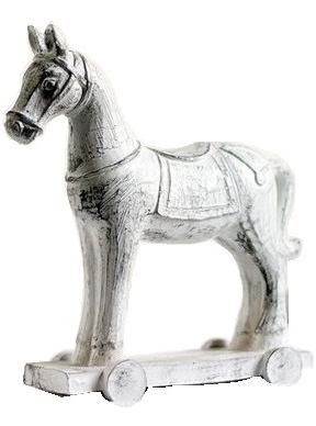Häst vintage vit på hjul shabby chic lantlig stil