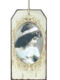 Viktoriansk flicka liten metall tag handgjord romantisk skylt shabby chic lantlig stil