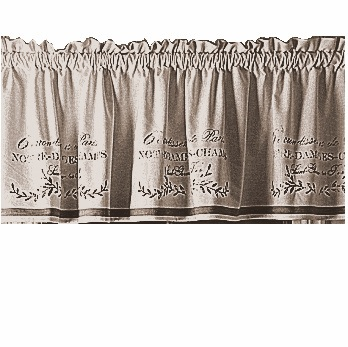 Kappa gardinkappa metervara linne-beige mjölsäcks tryck Notre Dame shabby chic lantlig stil