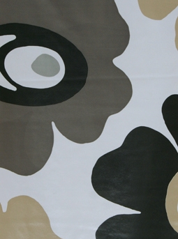 Vaxduk Design stora blommor svart linne-beige vit botten metervara