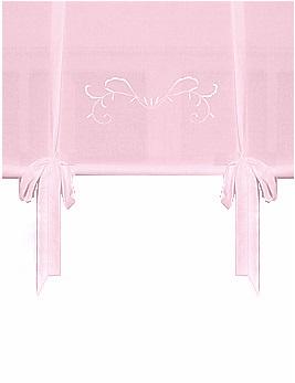 Knythissgardin rosa ljusrosa voile broderi shabby chic lantlig stil