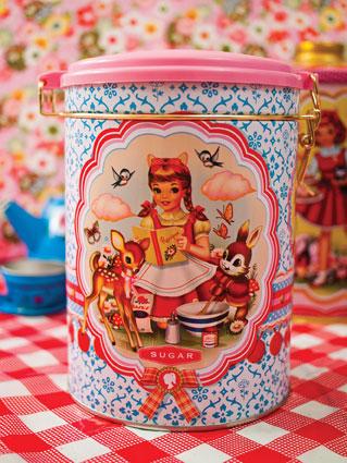Sockerburk söta barn pastell plåt retro