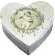 Plåtask hjärtformad hjärta med ängel stor shabby chic lantlig stil