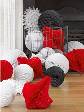3 stora röda julkulor Honeycombs