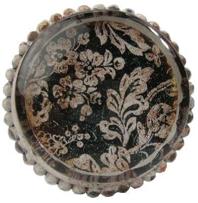 Stor knopp i glas och metall patina shabby chic lantlig stil