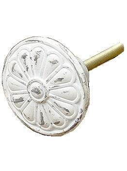 Metallknopp blomma antikvit vit shabby chic lantlig stil