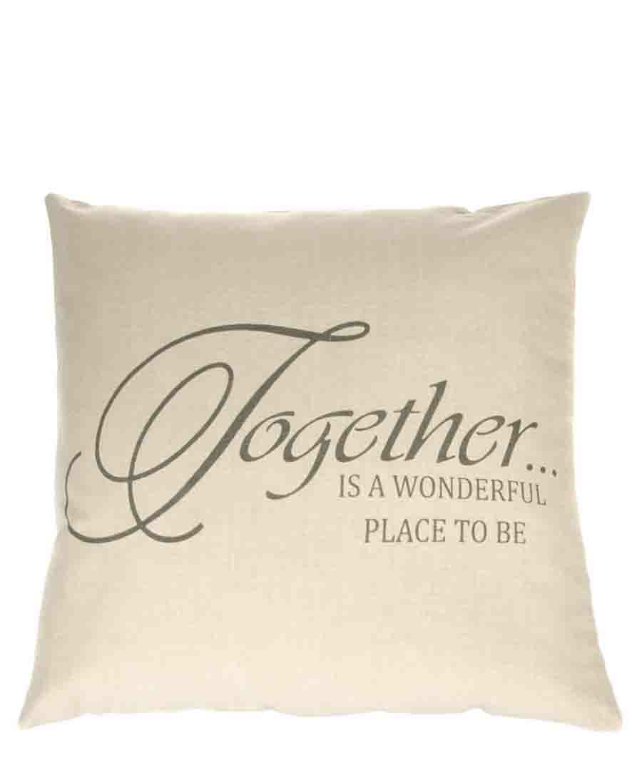 Kuddfodral Together Is A Wonderful Place To Be Linne Beige Shabby Chic