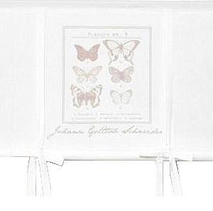 Hissgardin Butterfly vit beige rosa shabby chic lantlig stil