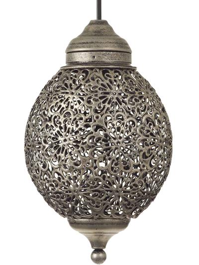 Rund silver färgad bollampa med genombrutet spetsmönster plåt shabby chic lantlig stil