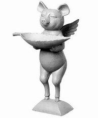 Fågelbad gris med vingar änglagris staty i gjutjärn shabby chic lantlig stil