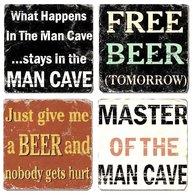 Glasunderlägg 4 set Beer mancave öl bar