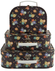 3 set väskor svarta blommiga shabby chic lantlig stil fransk lantstil