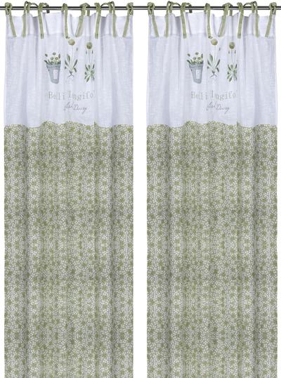 2 st Knytbandslängder Primula grön shabby chic lantlig stil