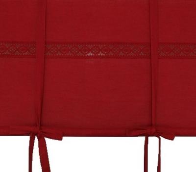 Hissgardin röd med spets 100-160cm