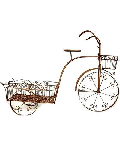 Cykel stor romantisk med kärra för plantering rostbrunt smide
