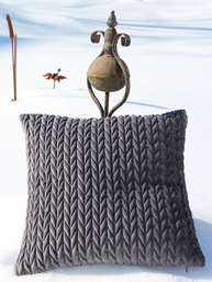 Kuddfodral Struktur skiffer mörgrå sammet shabby chic lantlig stil