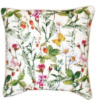 Kuddfodral blomsteräng vit blommor fjärilar shabby chic lantlig stil