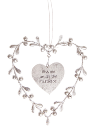 Mistel hjärta Kiss me under the mistletoe shabby chic lantlig stil