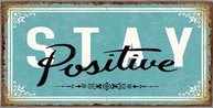 Plåtskylt Stay Positive turkos med magnet retro