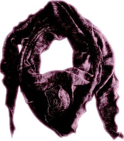 Mörk Lavendel sjal stickad med ros