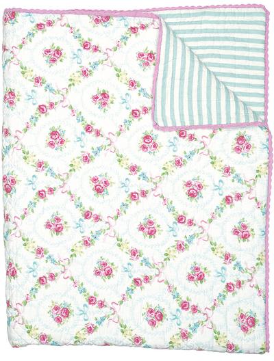 Quilt Doris white greengate 140x200cm enkelsäng shabby chic lantlig stil