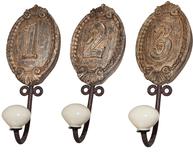Krokar antik stil siffror 1-3 set shabby chic lantlig stil