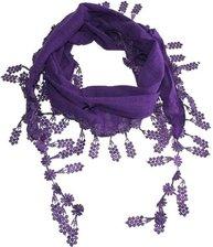 Lavendel lila purpur sjal med spetskant